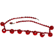 Vintage Czechoslovakia Bohemian Ruby Red Cut Glass Bead Necklace