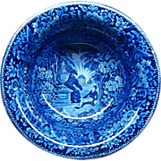 "12"" Blue American Historical Staffordshire Wash Bowl Lafayette at Franklin's Tomb"