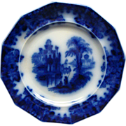 Staffordshire Flow Blue Coburg Plate Edwards Ca 1860