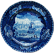 American Historical Dark Blue Staffordshire Ship Plate View of Liverpool by Wood
