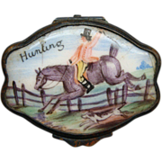 English Battersea Enamel Patch Snuff Box with Hunting Ca 1780