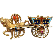 Vintage Figural 18K Gold & Enamel Gypsy Horse & Wagon Brooch Pin