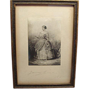 Signed Engraving Of Jenny Lind 1850 Gift To President Grover Clevelands Wife Plus Ticket To Concert