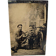 Rare Antique Tintype Photo Young Man & Boy With Bicycle Holding A Glass Mug & Bottle