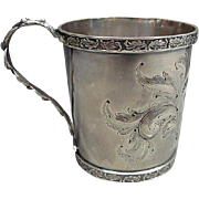 Antique American Coin Silver Christening Mug Emma Stearns Dates 1856