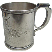 Civil War Era Sterling Silver Christening Mug Emma By Wood & Hughs Ca 1860