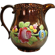 Wonderful Antique Raised Panel Staffordshire Rose & Vine Copper Luster Pitcher