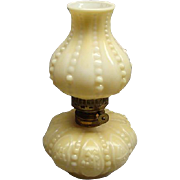 Wonderful Rare Victorian Miniature Pressed Custard Glass Lamp With Windmills & Sailboats P & A