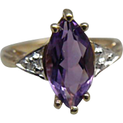 Ladies Romance 10k Marquise Cut Amethyst and Diamond Ring Size 6.25