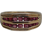 Ladies 10k Yellow Gold Double Row Channel Set Ruby Ring Size 8.25