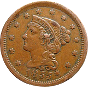 1855 Braided Hair Large US Cent Coin Slanting 55's Knob On Ear Extra Fine Estate Find - Red Tag Sale Item