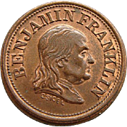 Civil War Token Benjamin Franklin A Penny Saved Is A Penny Earned Planchet Die Mint Error