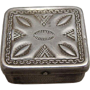 Native American Sterling Silver Stamp Box Ca 1900 - 1910