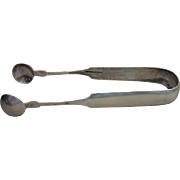 Fine Antique Coin Silver Sugar Tongs By Daniel Thompson Brattleboro VT C 1850