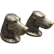 Victorian Silver Plate Figural Setter Dog Head Salt & Pepper Shakers