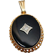 Vintage Ladies 10k Gold Onyx & Diamond Pendant