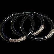 Set of 3 Lignum Vitae ( Ironwood ) and Silver Repousse Bangle Bracelets