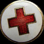 WWI Enamel Red Cross Lapel Button By Whitehead & Hoag