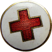 WWI Enamel Red Cross Lapel Button By Whitehead & Hoag