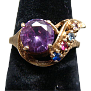 Vintage Ladies 10k Amethyst & Multi Stone Ring Size 7
