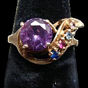 Vintage Ladies 10k Amethyst & Multi Stone Ring Size 7