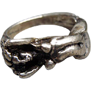 Mens Nude Ladies Form Sterling Silver Ring Size 10 1/2
