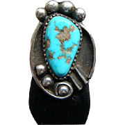 Native American Sterling Silver & Turquoise Ring Size 6 1/2