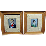 Pair Of Miniature Portrait Paintings By Juan Bauzil Ca 1815 European Royalty