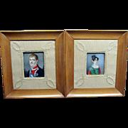 Pair Of Miniature Portrait Paintings By Juan Bauzil Ca 1815 European Royalty