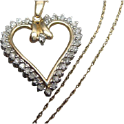 "10k Gold and Diamond Heart Pendant Necklace 18"" Chain 30 Diamonds"