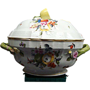 Vintage Herend Fruits And Flowers Soup Tureen With Gold Rim