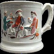 Antique Willie Brewd A Peck O Malt Staffordshire Frog Mug Ca 1840