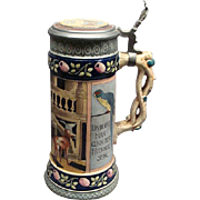 "10 1/4"" Vintage High Quality German Stein With Pewter Lid & Parrots"