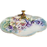 Antique Hand Painted Limoges Lemon Tray With Pansies
