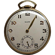 1942 Elgin Gold Filled Open Face 15J Pocket Watch Runs Well