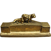 "Cast Brass Double Inkwell & Pen Stand With English Bulldogs Signed ""K. Csadek"" Vienna Ca 1900"