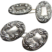 Fancy Pair Of Victorian Sterling Silver Repousse Cuff Links