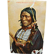 1910 Indian Postcard Kiowas Brave In War Dress