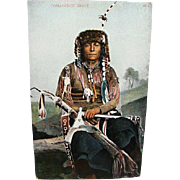 1910 Indian Postcard Comanche Brave In Full War Dress