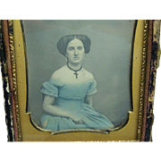 Exquisite Hand-coloured Daguerreotype of Beautiful Lady In Blue Dress 1/4 Plate