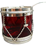 Great c1900 American Sterling Silver & Ruby Glass Drum Form Jam Jar Honey Pot