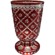 19th Century Bohemian Footed Glass Vase