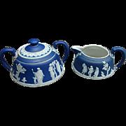 19th Century Dark Blue Wedgwood Jasperware Sugar and Creamer