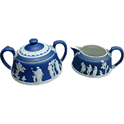 19th Century Dark Blue Wedgwood Jasperware Sugar and Creamer