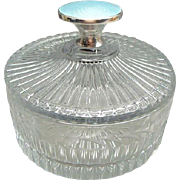 Rare Sterling Silver and Enamel Heisey Glass Powder or Dresser Jar