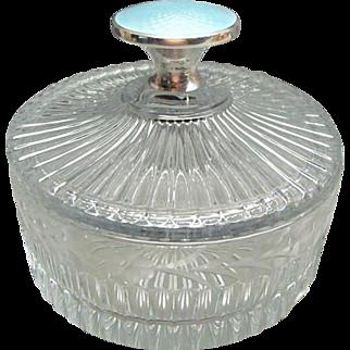Rare Sterling Silver and Enamel Heisey Glass Powder or Dresser Jar