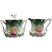 Antique Floral RS Prussia Sugar and Creamer Red & Green Wreath Mark
