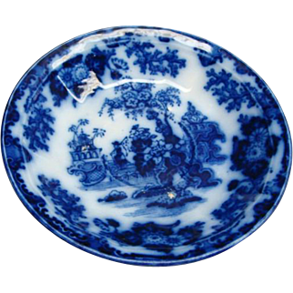 Staffordshire Flow Blue Scinde Paneled Saucer By Alcock Ca 1845
