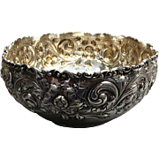 Heavy Antique Black Starr & Frost Sterling Silver Repousse Center Bowl