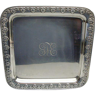 Heavy Whiting Square Sterling Silver Serving Tray Platter W Shell Border 640 Gms